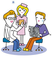 診察中の医者と看護師と患者