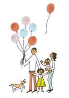 風船を持つ家族 20037003362| 写真素材・ストックフォト・画像・イラスト素材|アマナイメージズ