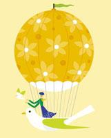 気球と鳩と女性