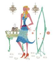 鏡の横に立つ女性 20037003469| 写真素材・ストックフォト・画像・イラスト素材|アマナイメージズ