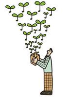 葉が飛び出す箱を持った男性 20037003482| 写真素材・ストックフォト・画像・イラスト素材|アマナイメージズ