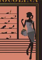 靴屋を見る女性シルエット 20037003492| 写真素材・ストックフォト・画像・イラスト素材|アマナイメージズ