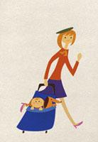 カートで赤ちゃんと犬を運ぶ女性 20037003507| 写真素材・ストックフォト・画像・イラスト素材|アマナイメージズ