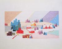 雪が降る街の風景