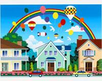 家並みと気球