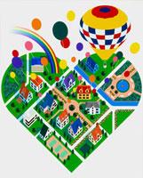 ハート型の街並みと気球