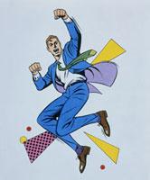 スーツ姿で跳ねる男性