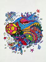 地球と乗り物に乗る集団のイメージ 20037003743| 写真素材・ストックフォト・画像・イラスト素材|アマナイメージズ