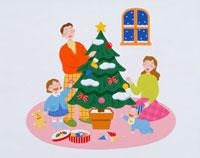 クリスマスツリーを囲む4人家族 20037003878| 写真素材・ストックフォト・画像・イラスト素材|アマナイメージズ