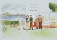 庭にいる三世代家族と犬 20037003883| 写真素材・ストックフォト・画像・イラスト素材|アマナイメージズ