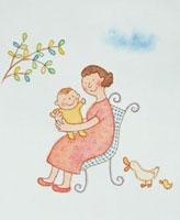 椅子に座って子供を抱く女性 20037003931| 写真素材・ストックフォト・画像・イラスト素材|アマナイメージズ