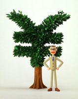 \マークの木とビジネスマン