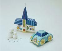 車と建物 冬イメージ