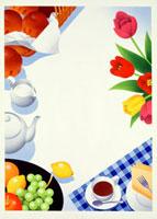 食べ物の乗ったテーブル メッセージボード 20037004175  写真素材・ストックフォト・画像・イラスト素材 アマナイメージズ