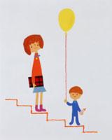 風船を持って階段に立っている子供 20037004228| 写真素材・ストックフォト・画像・イラスト素材|アマナイメージズ