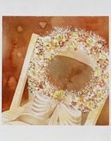 花輪が置かれた椅子 20037004303| 写真素材・ストックフォト・画像・イラスト素材|アマナイメージズ