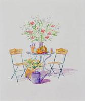 フルーツと花が乗ったテーブル 20037004324| 写真素材・ストックフォト・画像・イラスト素材|アマナイメージズ