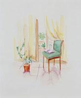 開いたガラス戸と椅子 20037004325| 写真素材・ストックフォト・画像・イラスト素材|アマナイメージズ