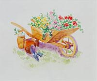 花がいっぱいの手押し車 20037004329| 写真素材・ストックフォト・画像・イラスト素材|アマナイメージズ