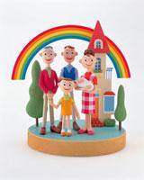 家族と家 20037004346| 写真素材・ストックフォト・画像・イラスト素材|アマナイメージズ