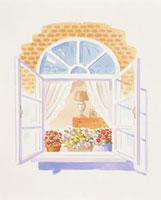 外から見た出窓と鉢植え 20037004487| 写真素材・ストックフォト・画像・イラスト素材|アマナイメージズ