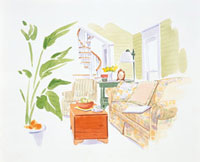 ソファと観葉植物のあるリビングルーム