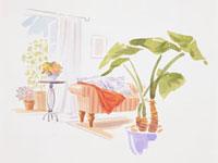 ソファと花台のあるリビングルーム