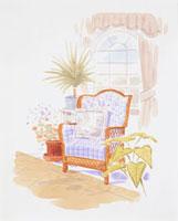 窓際の椅子と観葉植物