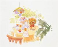 食事が乗ったテーブルと花 20037004502| 写真素材・ストックフォト・画像・イラスト素材|アマナイメージズ
