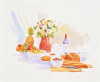 パンやサラダとボトル 20037004506| 写真素材・ストックフォト・画像・イラスト素材|アマナイメージズ