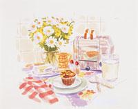 テーブルの上に乗った食事と花