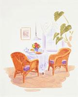 テーブルの上に乗った食べ物と花 20037004510| 写真素材・ストックフォト・画像・イラスト素材|アマナイメージズ