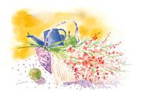 籠に入った花と果物