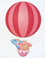 気球に乗った家族