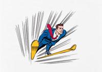 スキージャンプをするビジネスマン 20037004570| 写真素材・ストックフォト・画像・イラスト素材|アマナイメージズ