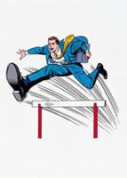 ハードル越えをするビジネスマン 20037004571| 写真素材・ストックフォト・画像・イラスト素材|アマナイメージズ