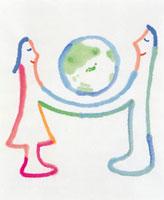 地球と人物エコロジーイメージ