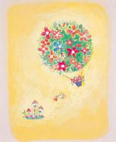 花束の気球と家