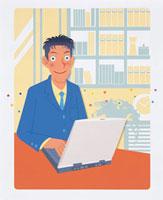 ノートパソコンを操作する男性 20037004725| 写真素材・ストックフォト・画像・イラスト素材|アマナイメージズ