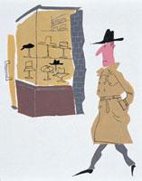 コート姿で帽子をかぶった男性