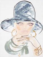 帽子をかぶった女性の顔