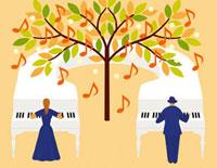 音符の木とピアノを奏でる男女 20037004872| 写真素材・ストックフォト・画像・イラスト素材|アマナイメージズ