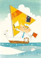 ヨットと旗を振る子供