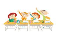 勉強中に手を上げる子供たち