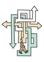 交差する矢印と男性