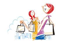 ショッピングバックを持つ2人の女性