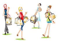 ショッピングバックを持つ4人の女性 20037004926| 写真素材・ストックフォト・画像・イラスト素材|アマナイメージズ