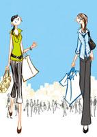 ショッピングバックを持って歩く2人の女性