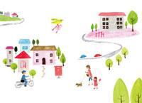 街と親子と郵便配達員