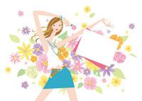 ショッピングバックを持つ女性 花